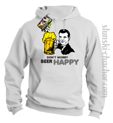 DON'T WORRY BEER HAPPY - Bluza z kapturem biała