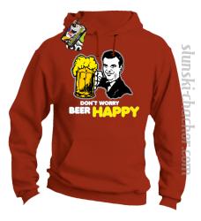 DON'T WORRY BEER HAPPY - Bluza z kapturem pomarańcz