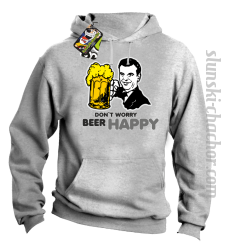 DON'T WORRY BEER HAPPY - Bluza z kapturem melanż