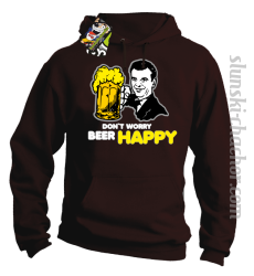 DON'T WORRY BEER HAPPY - Bluza z kapturem brąz