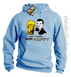 DON'T WORRY BEER HAPPY - Bluza z kapturem błękit