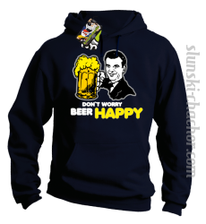 DON'T WORRY BEER HAPPY - Bluza z kapturem granat