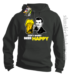 DON'T WORRY BEER HAPPY - Bluza z kapturem grafit