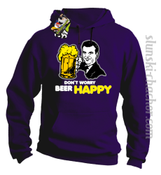 DON'T WORRY BEER HAPPY - Bluza z kapturem fiolet