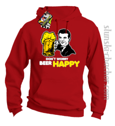 DON'T WORRY BEER HAPPY - Bluza z kapturem red