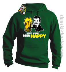 DON'T WORRY BEER HAPPY - Bluza z kapturem zielony