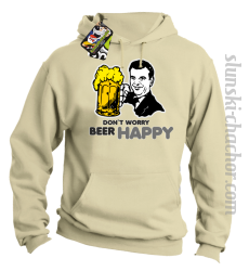 DON'T WORRY BEER HAPPY - Bluza z kapturem beż