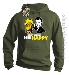 DON'T WORRY BEER HAPPY - Bluza z kapturem khaki