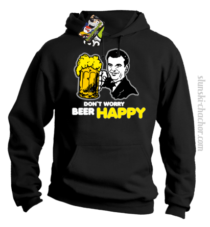 DON'T WORRY BEER HAPPY - Bluza z kapturem czarna
