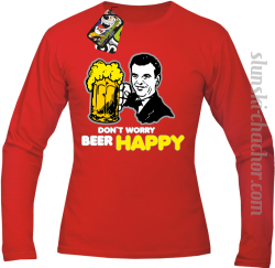 DON'T WORRY BEER HAPPY - Longsleeve męski red