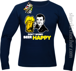 DON'T WORRY BEER HAPPY - Longsleeve męski granat