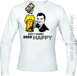 DON'T WORRY BEER HAPPY - Longsleeve męski biała