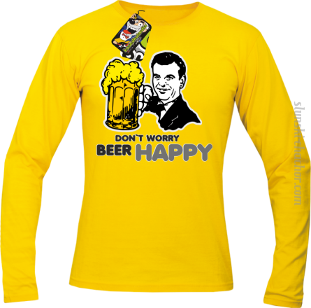 DON'T WORRY BEER HAPPY - Longsleeve męski zółty