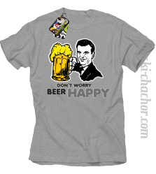 DON'T WORRY BEER HAPPY - Koszulka męska melanż