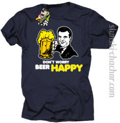 DON'T WORRY BEER HAPPY - Koszulka męska granat
