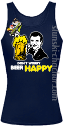 DON'T WORRY BEER HAPPY - Top damski granat