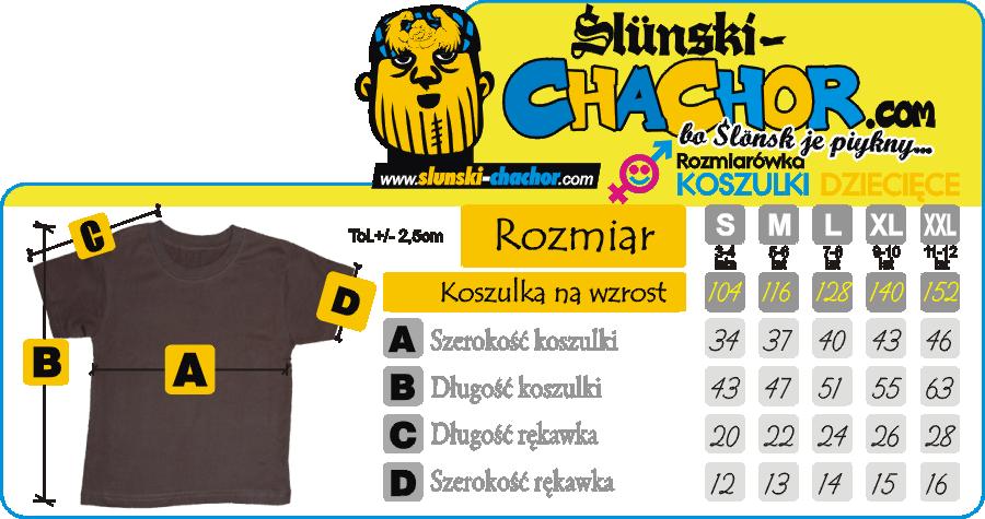 Rozmiarówka dziecięca koszulki  SLUNSKI CHACHOR Koszulkolandia